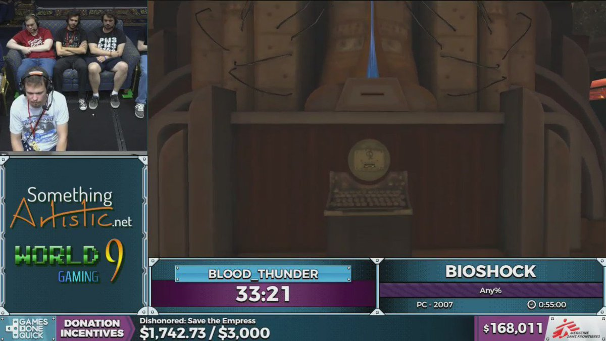 Bioshock speedrun, Windows10% #SGDQ2016 https://t.co/dZqVskPY8a