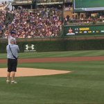 Jim Harbaugh brought the heat to the mound while throwing the first pitch at the Cubs game. (via @CSNChicago) https://t.co/qDPS5XghfR