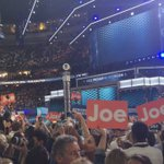The crowd is going crazy for their passionate VP @JoeBiden #DemsInPhilly #DNCinPHL https://t.co/pJOJxZi7VK
