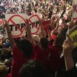 Cali, largest delegation protest against TPP & fracking while Tim Kaines speaks @shailenewoodley @rosariodawson ✊🏽 https://t.co/A3MEivBng3