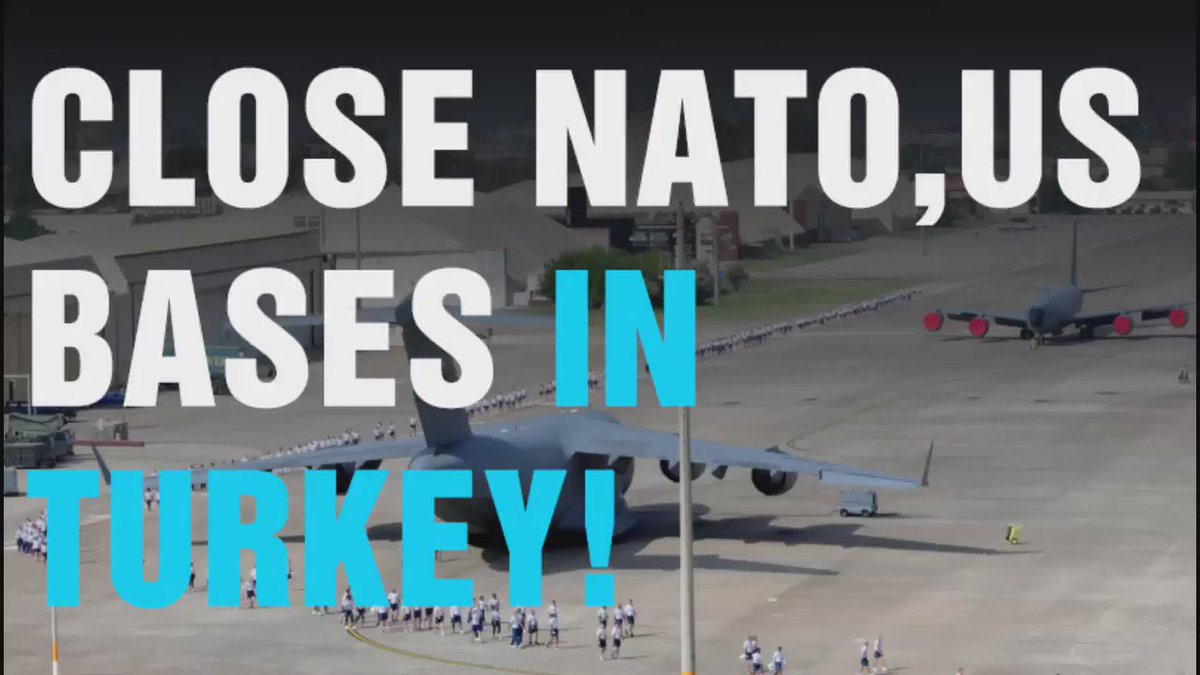 Watch: Protesters outside #Incirlik demand closure of #US, @NATO military base in #Turkey. https://t.co/lu8QY7js23