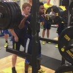 @DerrickWalton10 is a beast!  425lb Back Squat weighting 190lbs. #GoBlue #SquatGoesUpBounceGoesUp @umichbball https://t.co/F1C9TCASLx