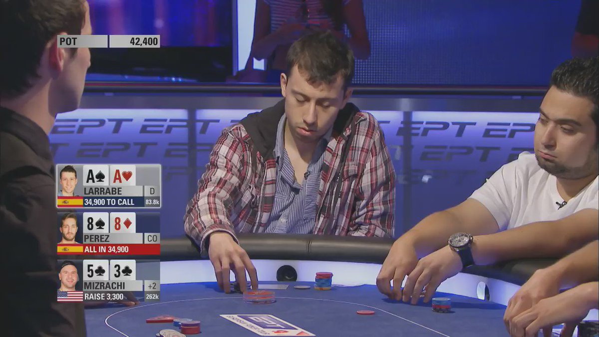 "Here's Mike ""The Psychic"" Mizrachi, aka @TheGrinder44 calling it at #EPTBarcelona!"