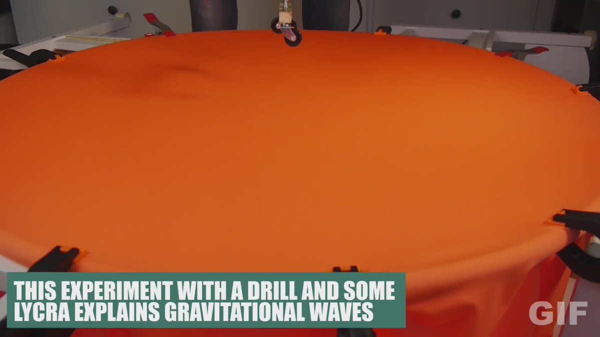 I use lycra and a drill to explain gravitational waves. Full video here: https://t.co/lHIvrgBk5w https://t.co/3erpnUeUSp