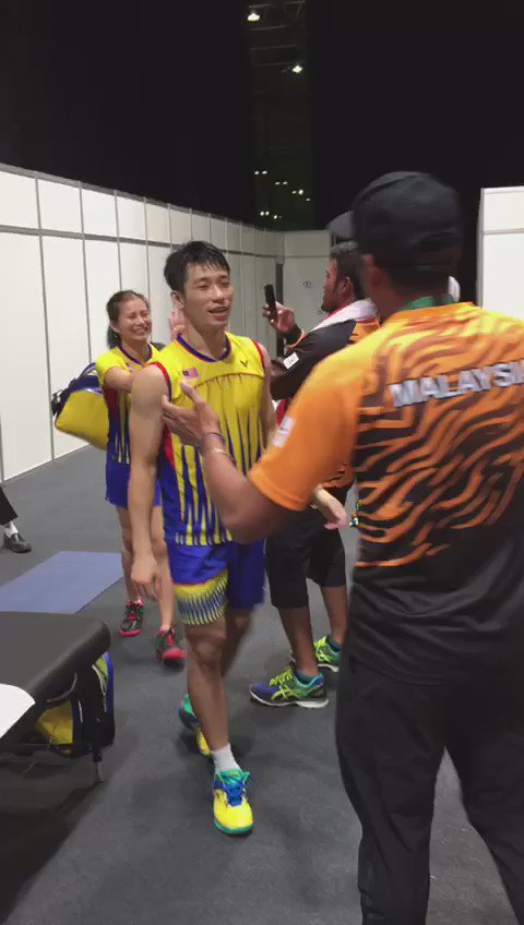 """""""We are not finished yet. All the way. GO FOR GOLD"""" @Khairykj to our Mixed Doubles pair. #MAS #Rio2016 https://t.co/R6OEmPN3hn"""