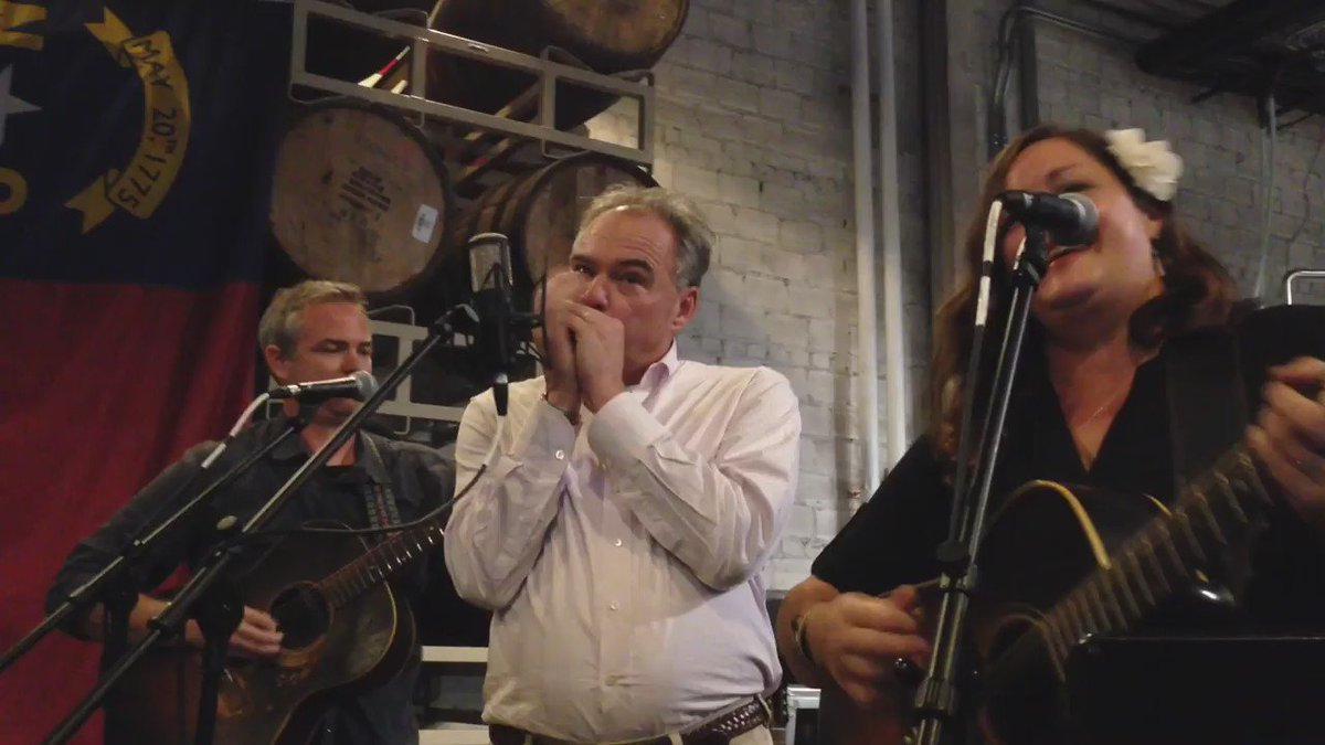 "Tim Kaine plays ""Wagon Wheel"" on the harmonica at Catawba Brewing Co. in Asheville, N.C. https://t.co/d0bYJAYCt7"