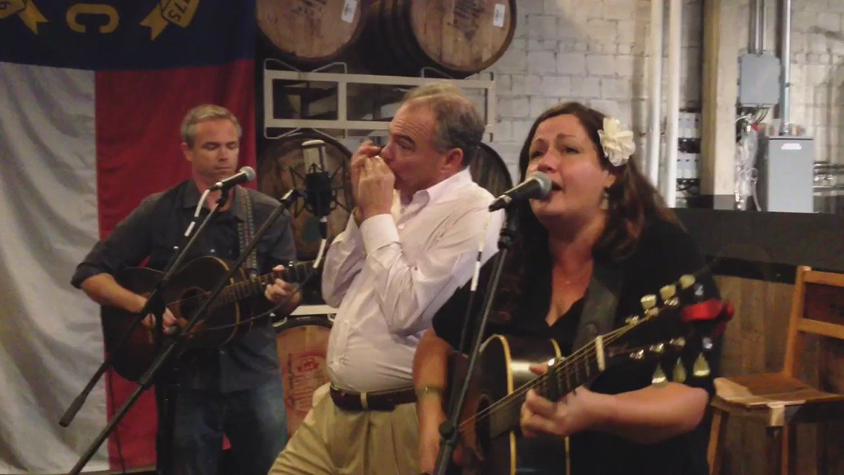 "Kaine sings ""My Home's Across the Blue Ridge Mountains"" in Asheville, N.C. Bonus: his wife, Anne Holton, clogging. https://t.co/sy0wb1yP9S"