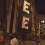 Crews working to hoist the Tennessee Theatre sign. @wbir https://t.co/RgGngIiOAM