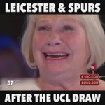 Leicester and Spurs fans after that @ChampionsLeague draw! 🏆 https://t.co/3T5jbKYPMi