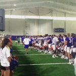 Practice makes perfect - @UFGatorBand, @GatorsFB, & @CoachMcElwain met at the IPF to sing the fight song! https://t.co/eN5eYbZ09A
