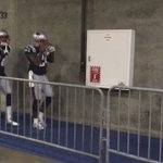 Tom Brady emerges from locker room with teammates who align themselves so that Brady leads them onto field. https://t.co/Mp9FvUV0Nm