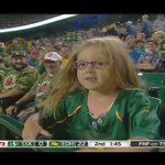 The @EdmontonEsks biggest fan cheers on her favourite team as they take a large lead into halftime! #CFLGameDay https://t.co/kCDAZkGOcu