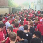 😳  This is the line of students to get into the @HuskerBoneyard Bash tonight.  🔴🌽✊ #GBR https://t.co/jxoZ2OSjte