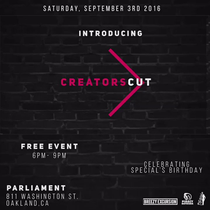 #BayArea #Oakland let's spend Saturday together! I'm so juiced to show you my new project #CreatorsCut https://t.co/vmHqeOSB7u