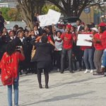 Students join the EFF at Lawson Brown High School in PE standing in solidarity. #BlackHairMatters #SabcNews https://t.co/UVljcNEjn6