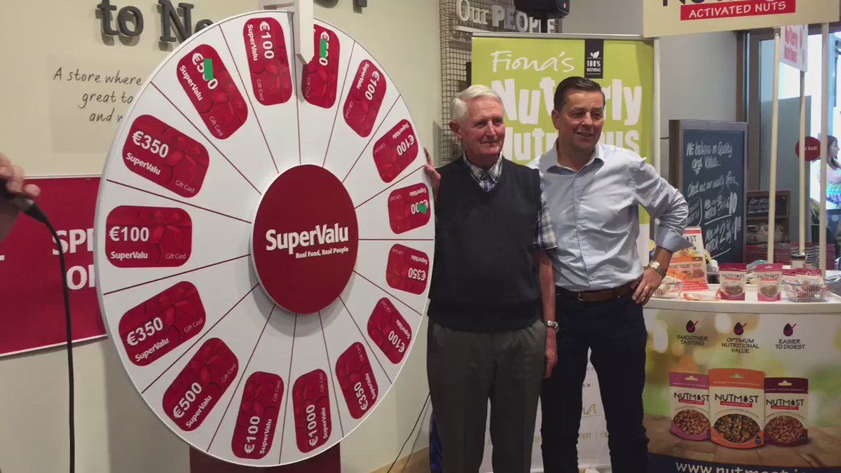 Big winners here today! €5,000 in prizes and €1,000 to a local charity #foodkarma @SuperValuIRL https://t.co/ivgilLaRHe
