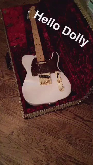 Holy smoly it's 12noon & I haven't tweeted yet today! Did y'all  see my new #telecaster @Fender #flockon #meetdolly https://t.co/aUpvd1emKe