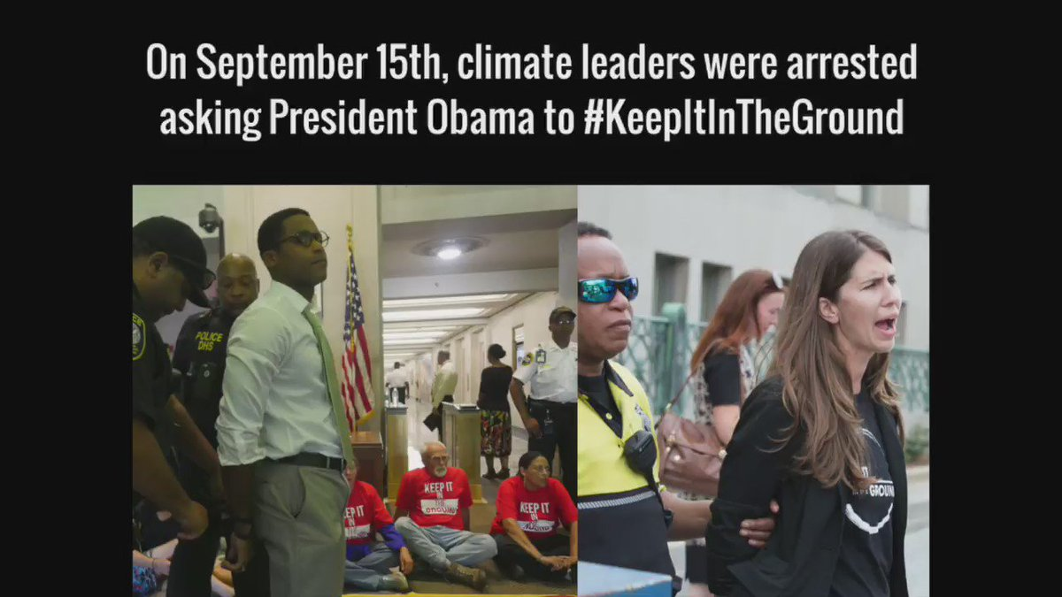 Climate leaders including @lrallen arrested in DC asking @POTUS to #KeepItInTheGround Call: https://t.co/g38NWxRAmY https://t.co/K0BQZZlYMB