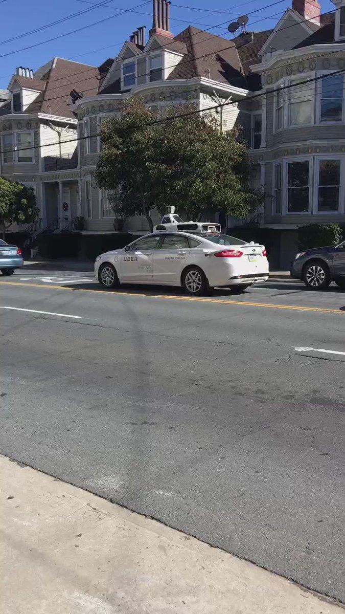Just saw the first autonomous @Uber car in San Francisco. #autonomousvehicles #uber #uber https://t.co/x9Jp7AQ5vQ