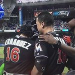 Dee Gordon moments after he hit a home run to lead things off for the Marlins. #RIPJose https://t.co/UFSRMR84E8
