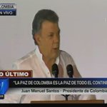 """[AMPLIACIÓN] @JuanManSantos: """"Hay una guerra menos en el mundo y es la de #Colombia"""" ► https://t.co/rgTfXjh6uF https://t.co/NHBgYx2v5I"""