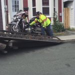 Police are towing away another motorcycle fro Cabot Street. This one has Vikings MC Newfoundland stickers on it. https://t.co/YEzLmGFBrP