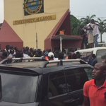 VIDEO: Students take over @unilag_1962 gate to protest against victimization of students union leaders https://t.co/kFvOrcK8SF