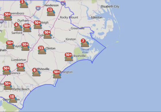 Here's a look at the duke energy power outage map. latest on ... on