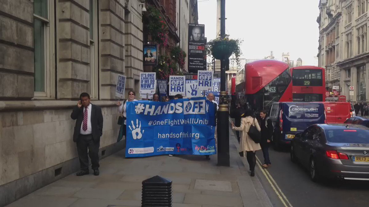 NEWS: #HandsOffHRI walking down Whitehall to hand in their petition to @Number10gov https://t.co/Rfx3FCoDy1