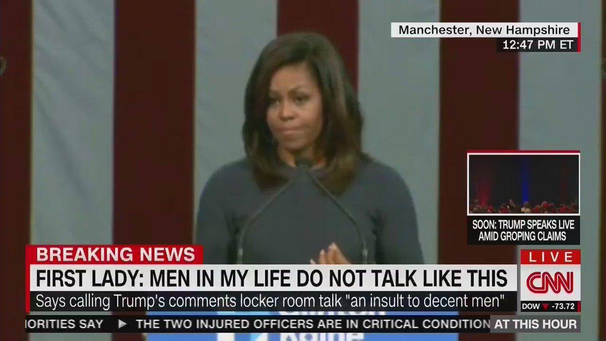 """Strong men don't need to put down women to feel powerful."" - #FLOTUS #MichelleObama https://t.co/HR4X2b8xo7"