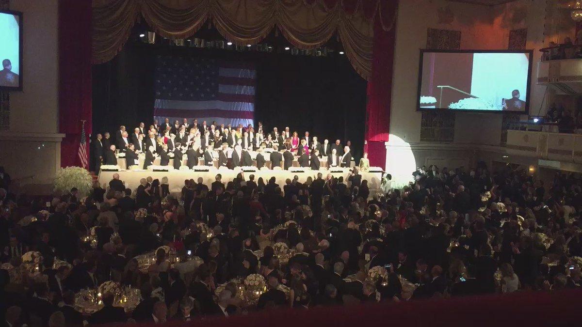 Standing ovation for @HillaryClinton at #AlSmithDinner #NBC4NY https://t.co/ld9nmpslT3