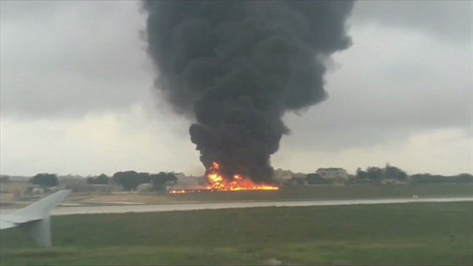 BBC Breaking News @BBCBreaking: Small aircraft crashes at Malta airport killing five people, Maltese media reports (video via eyewitness @eddydeg) https://t.co/JvYHDqa9x0