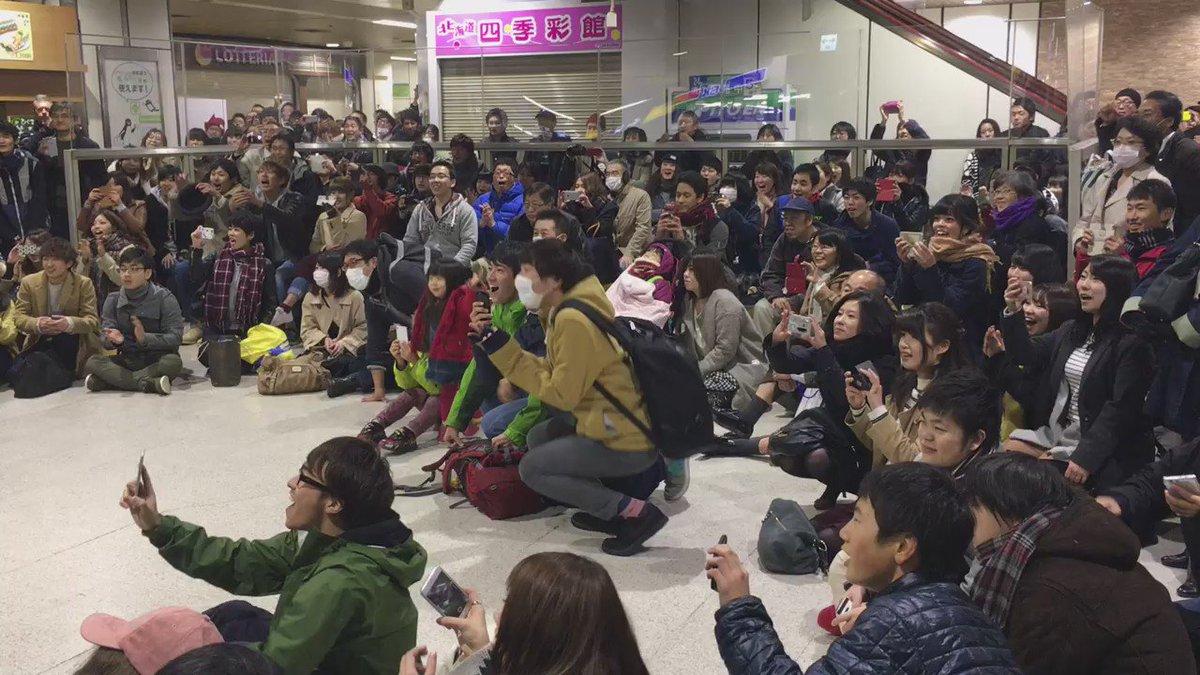 優勝の瞬間の札幌駅です