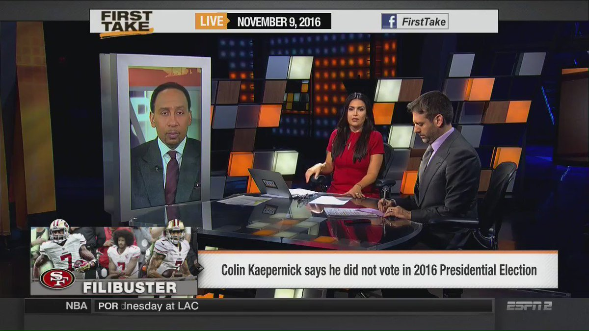 ICYMI: @stephenasmith excoriated Colin Kaepernick for his choice not to vote. https://t.co/RbDtznjwqk