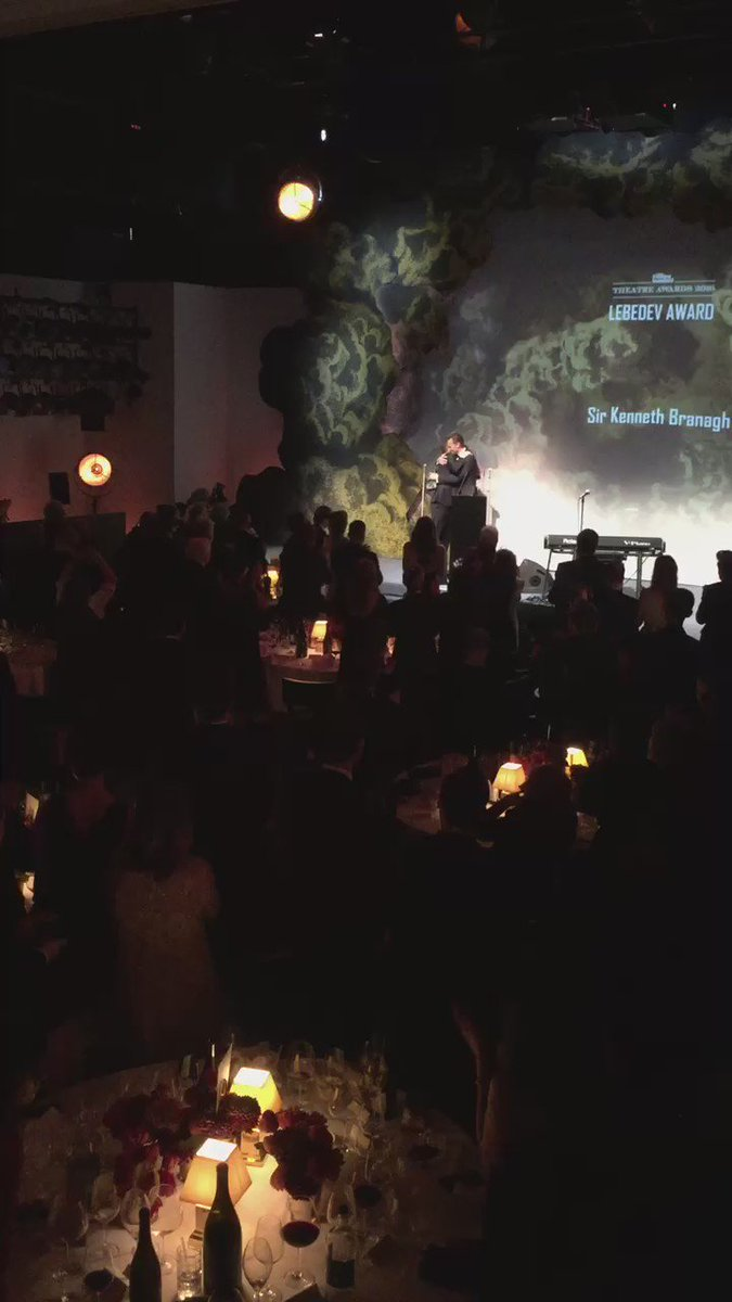 Sir Kenneth Branagh accepts the Lebedev Award from Tom Hiddleston #ESTheatreAwards https://t.co/l8NIwsObYe