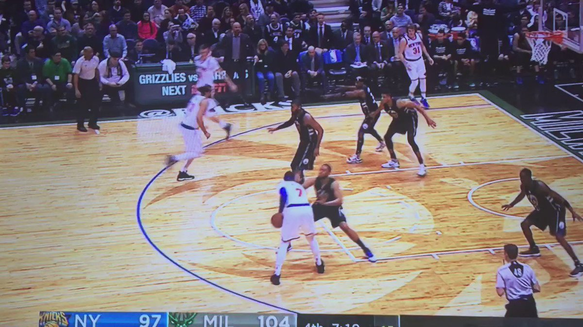Porzingis hits a 3-pointer. Then blocks Giannis twice at the rim. And then hits a 3 from 30 feet. Seriously.