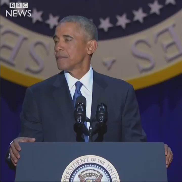 President Obama's final 'Yes we can'. #ObamaFarewell https://t.co/1dICcD0SQU https://t.co/lBsdc9MbHg