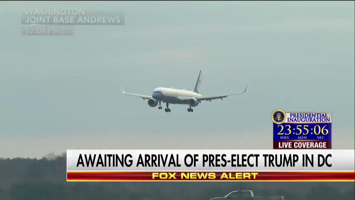 President-elect #DonaldTrump's plane lands in Washington, D.C.