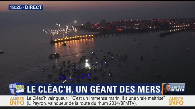 #VendeeGlobe: un feu d'artifice pour accueillir Armel Le Cléac'h dans le port des Sables d'Olonne