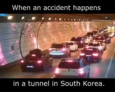 MEDIA: Traffic in South Korean tunnel re-arranges itself to allow ambulance through to accident site