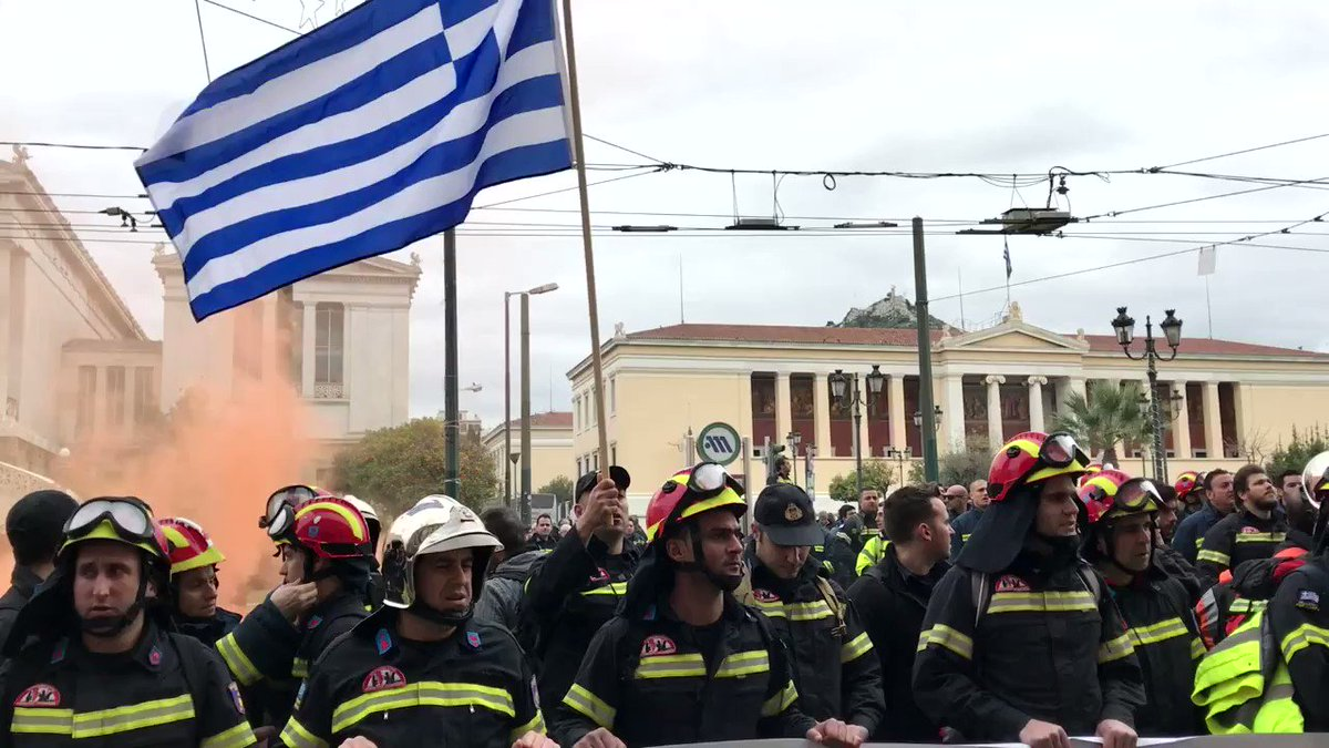 Firefighters protest in Greece as 1-in-3 jobs at risk under bailout restrictions. Story: