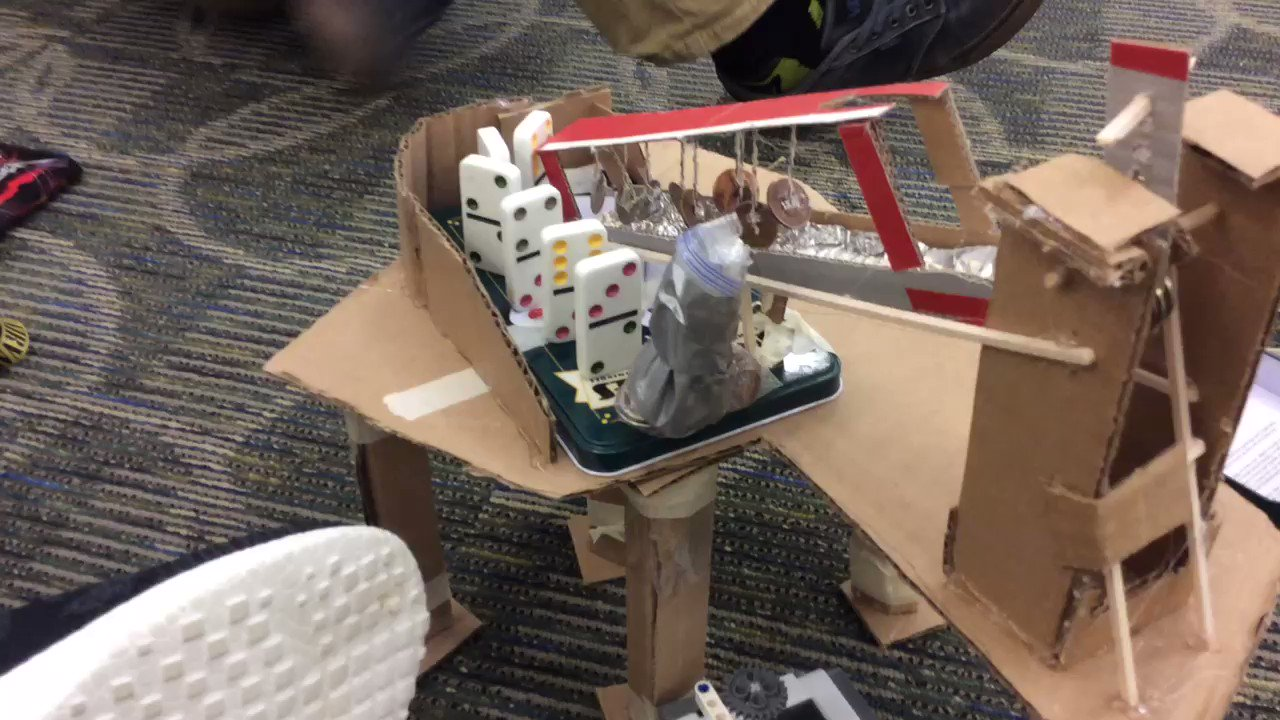 Made a Rube Goldberg that makes sound, each component! 🔊 @okgo @msalang @MissManocchio #ourBMSA https://t.co/iKO2WXIpWD