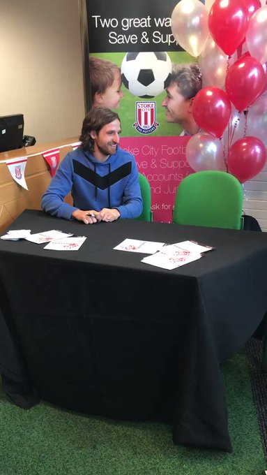 One very happy Potter met Joe Allen at LeekUnited earlier today...  And gets a happy birthday from the Welshman