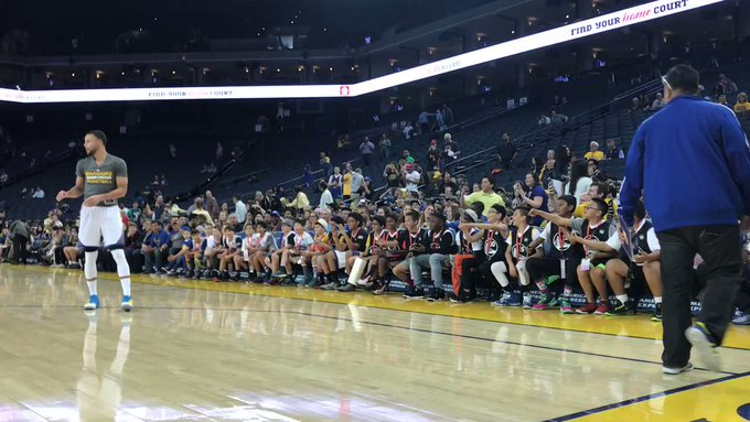 Kids sitting courtside sing Happy Birthday to Stephen Curry as the reigning 2-time MVP warms up!