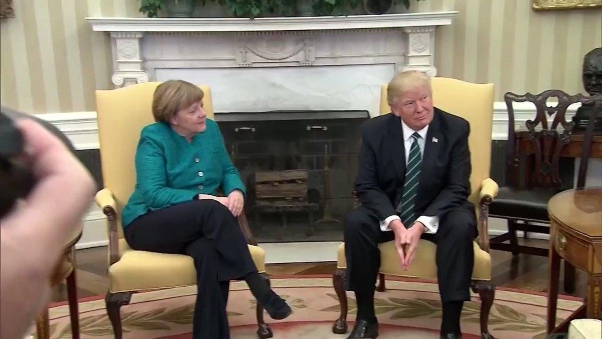 "Merkel asks Trump: ""Do you want to have a handshake?"" The U.S. president did not respond. https://t.co/r4krLYjfvk https://t.co/4vjokJTgZn"