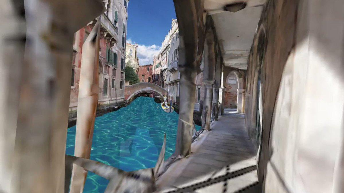 ネオ・ヴェネツィアの運河のある街角を歩いてゴンドラに乗るVR#CM3D2 #ARIA