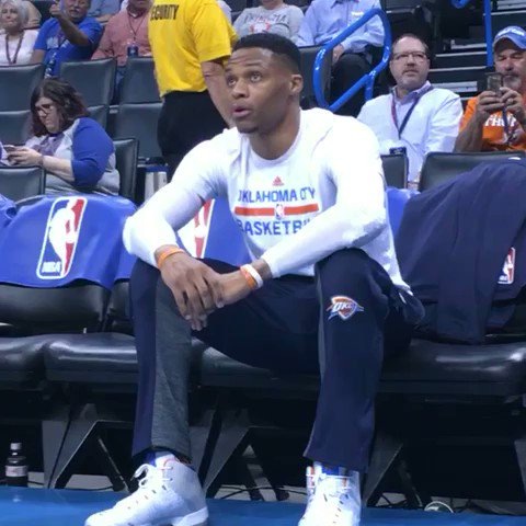 Westbrook in his zone before tip on TNT! #ThunderUp https://t.co/j3jsysdR7H