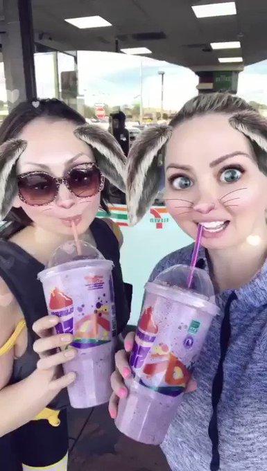 Slurpee Whores reunited! #suckingalltheslurpees #slurpeewhore #7eleven #slurpee #sourgrape https://t