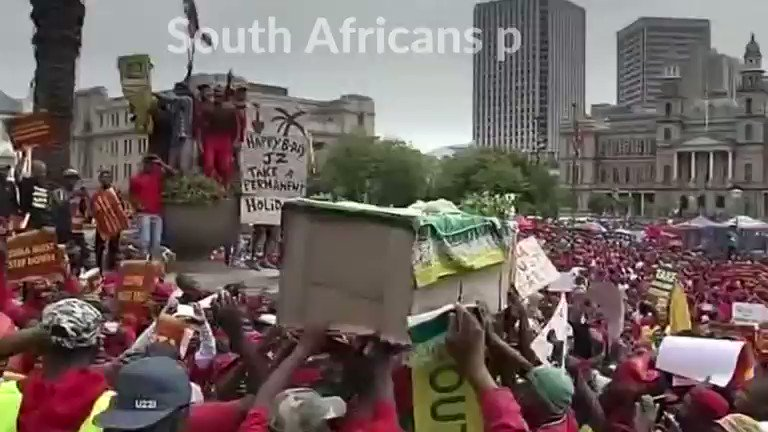 Opposition protesters in South Africa urge President Jacob Zuma to quit