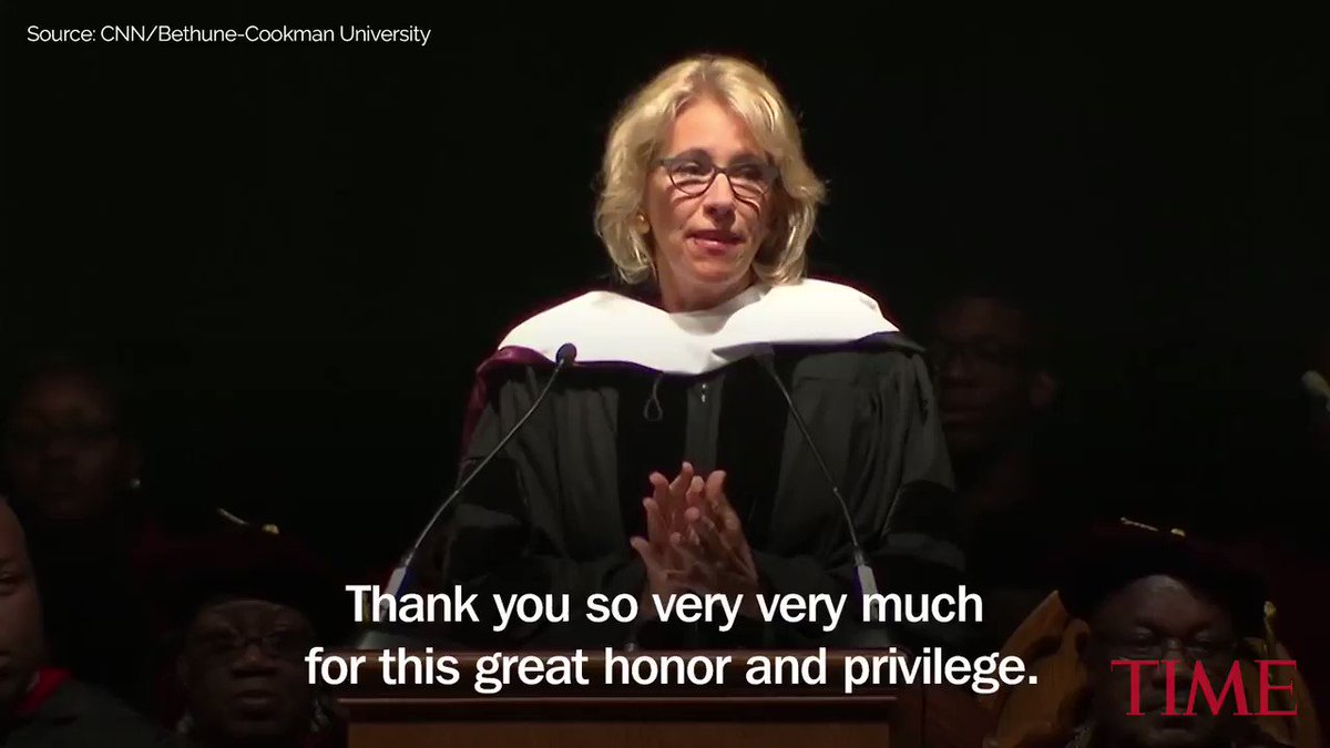 Students boo, turn backs on Betsy DeVos during commencement at historically black university https://t.co/mYlJB85fWN https://t.co/bH4GynvZGP
